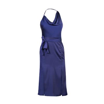 One Shoulder Cowl Neck Double Split Satin Midi Dress navy